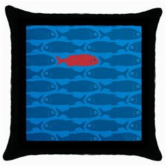 Fish Line Sea Beach Swim Red Blue Throw Pillow Case (black)