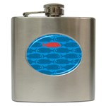 Fish Line Sea Beach Swim Red Blue Hip Flask (6 oz) Front