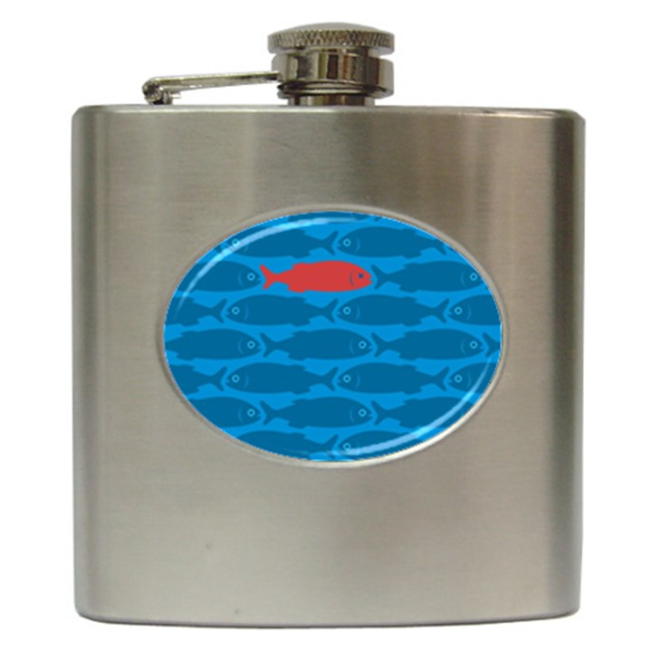 Fish Line Sea Beach Swim Red Blue Hip Flask (6 oz)