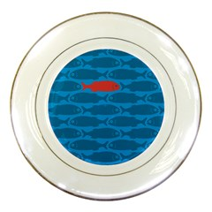 Fish Line Sea Beach Swim Red Blue Porcelain Plates by Alisyart