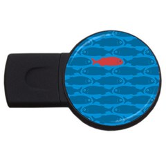 Fish Line Sea Beach Swim Red Blue Usb Flash Drive Round (4 Gb) by Alisyart