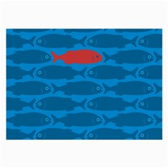 Fish Line Sea Beach Swim Red Blue Large Glasses Cloth (2 Side) by Alisyart