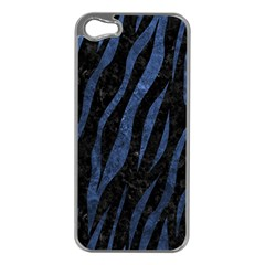Skin3 Black Marble & Blue Stone Apple Iphone 5 Case (silver) by trendistuff