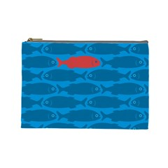 Fish Line Sea Beach Swim Red Blue Cosmetic Bag (large)  by Alisyart