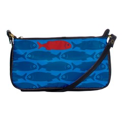 Fish Line Sea Beach Swim Red Blue Shoulder Clutch Bags by Alisyart