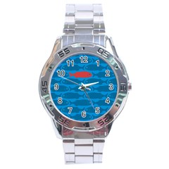 Fish Line Sea Beach Swim Red Blue Stainless Steel Analogue Watch by Alisyart