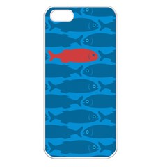 Fish Line Sea Beach Swim Red Blue Apple Iphone 5 Seamless Case (white) by Alisyart