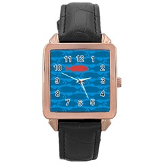 Fish Line Sea Beach Swim Red Blue Rose Gold Leather Watch  by Alisyart