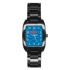 Fish Line Sea Beach Swim Red Blue Stainless Steel Barrel Watch