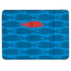 Fish Line Sea Beach Swim Red Blue Samsung Galaxy Tab 7  P1000 Flip Case