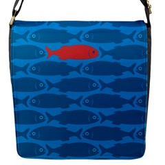 Fish Line Sea Beach Swim Red Blue Flap Messenger Bag (s) by Alisyart