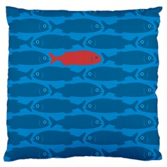Fish Line Sea Beach Swim Red Blue Large Flano Cushion Case (two Sides) by Alisyart