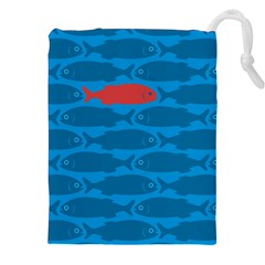 Fish Line Sea Beach Swim Red Blue Drawstring Pouches (xxl) by Alisyart