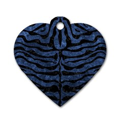 Skin2 Black Marble & Blue Stone (r) Dog Tag Heart (one Side) by trendistuff