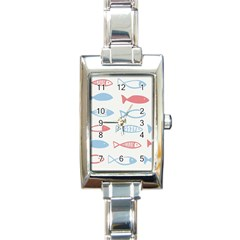 Fish Swim Sea Beach Red Blue White Rectangle Italian Charm Watch by Alisyart