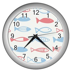 Fish Swim Sea Beach Red Blue White Wall Clocks (silver)