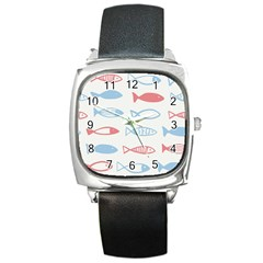 Fish Swim Sea Beach Red Blue White Square Metal Watch by Alisyart