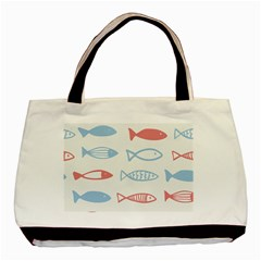 Fish Swim Sea Beach Red Blue White Basic Tote Bag