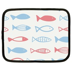 Fish Swim Sea Beach Red Blue White Netbook Case (large) by Alisyart