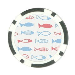 Fish Swim Sea Beach Red Blue White Poker Chip Card Guard (10 Pack) by Alisyart