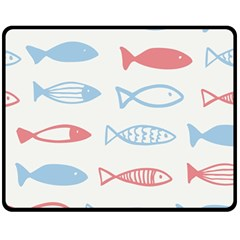 Fish Swim Sea Beach Red Blue White Fleece Blanket (medium)  by Alisyart