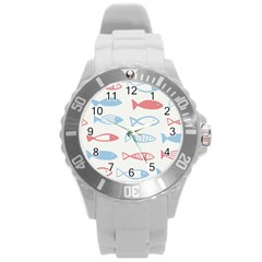 Fish Swim Sea Beach Red Blue White Round Plastic Sport Watch (l)