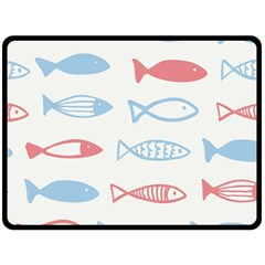 Fish Swim Sea Beach Red Blue White Double Sided Fleece Blanket (large)