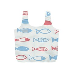 Fish Swim Sea Beach Red Blue White Full Print Recycle Bags (s)  by Alisyart