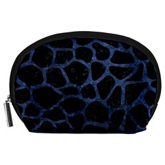 Skin1 Black Marble & Blue Stone (r) Accessory Pouch (large) by trendistuff