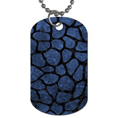 Skin1 Black Marble & Blue Stone Dog Tag (one Side) by trendistuff