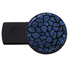 Skin1 Black Marble & Blue Stone Usb Flash Drive Round (4 Gb) by trendistuff