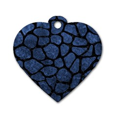 Skin1 Black Marble & Blue Stone Dog Tag Heart (two Sides) by trendistuff