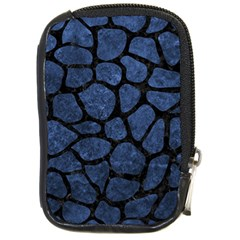Skin1 Black Marble & Blue Stone Compact Camera Leather Case by trendistuff