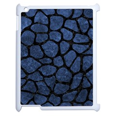 Skin1 Black Marble & Blue Stone Apple Ipad 2 Case (white) by trendistuff