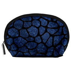 Skin1 Black Marble & Blue Stone Accessory Pouch (large) by trendistuff