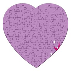Purple Flagred White Star Jigsaw Puzzle (heart) by Alisyart