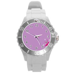 Purple Flagred White Star Round Plastic Sport Watch (l) by Alisyart