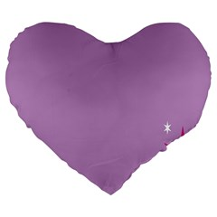 Purple Flagred White Star Large 19  Premium Heart Shape Cushions by Alisyart
