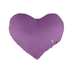 Purple Flagred White Star Standard 16  Premium Flano Heart Shape Cushions by Alisyart