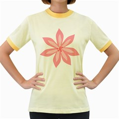 Pink Lily Flower Floral Women s Fitted Ringer T Shirts by Alisyart