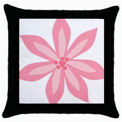 Pink Lily Flower Floral Throw Pillow Case (black)