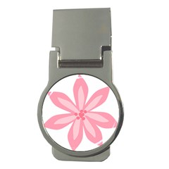 Pink Lily Flower Floral Money Clips (round)  by Alisyart