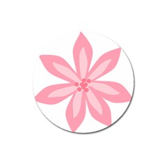 Pink Lily Flower Floral Magnet 3  (round) by Alisyart