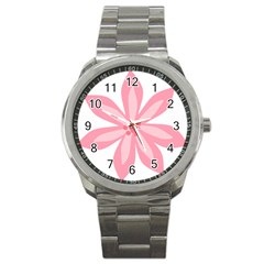 Pink Lily Flower Floral Sport Metal Watch by Alisyart