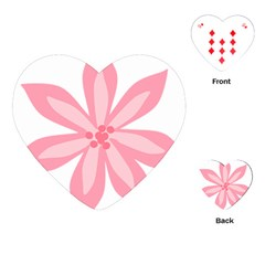Pink Lily Flower Floral Playing Cards (heart)  by Alisyart