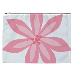 Pink Lily Flower Floral Cosmetic Bag (xxl)