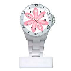 Pink Lily Flower Floral Plastic Nurses Watch by Alisyart