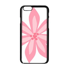 Pink Lily Flower Floral Apple Iphone 6/6s Black Enamel Case by Alisyart