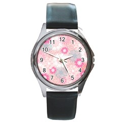 Flower Floral Sunflower Rose Pink Round Metal Watch by Alisyart