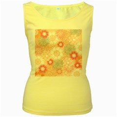 Flower Floral Sunflower Rose Pink Women s Yellow Tank Top